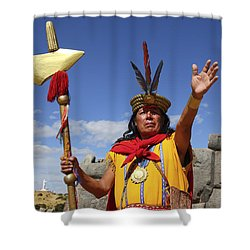The Inca At Sacsayhuaman Shower Curtain by James Brunker