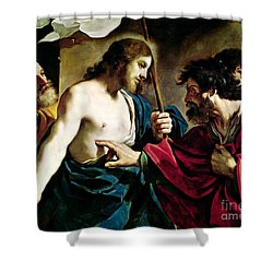 The Incredulity Of Saint Thomas Shower Curtain by Guercino