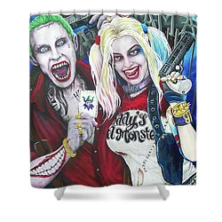 The Joker And Harley Quinn Shower Curtain by Michael Vanderhoof