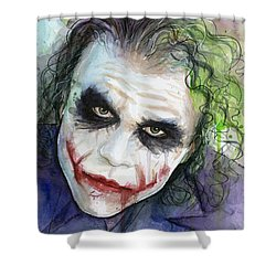 The Joker Watercolor Shower Curtain by Olga Shvartsur