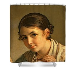 The Lacemaker Shower Curtain by Vasili Andreevich Tropinin