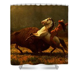 The Last Of The Buffalo Shower Curtain by Albert Bierstadt