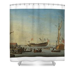 The Launch Of A Man Of War Shower Curtain by Robert Woodcock