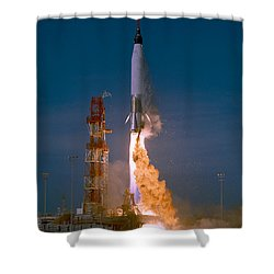 The Launch Of The Mercury Atlas Shower Curtain by Stocktrek Images