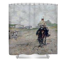 The Light Cavalryman Shower Curtain by Giovanni Fattori
