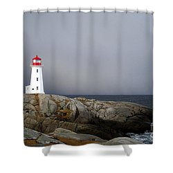 The Lighthouse At Peggys Cove Nova Scotia Shower Curtain by Shawna Mac