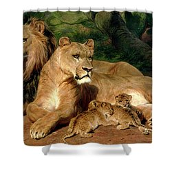The Lions At Home Shower Curtain by Rosa Bonheur