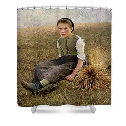 The Little Gleaner Shower Curtain by Hugo Salmson
