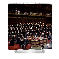 The Lord Chancellor About To Put The Question In The Debate About Home Rule In The House Of Lords Shower Curtain by English School