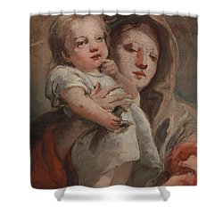 The Madonna And Child With A Goldfinch Shower Curtain by Tiepolo