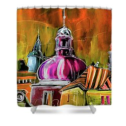 The Magical Rooftops Of Prague 01 Shower Curtain by Miki De Goodaboom