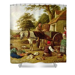 The Market Cart Shower Curtain by Henry Charles Bryant