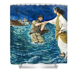 The Miracles Of Jesus Walking On Water  Shower Curtain by Clive Uptton