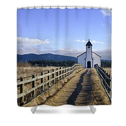 The Morley Church, Alberta, Canada Shower Curtain by Philippe Widling