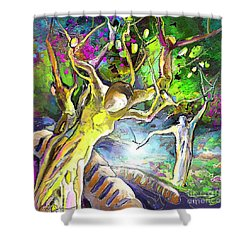 The Multiplication Of Bread Shower Curtain by Miki De Goodaboom
