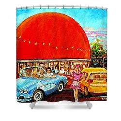The Orange Julep Montreal Shower Curtain by Carole Spandau