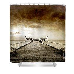 the pier at Llandudno Shower Curtain by Meirion Matthias