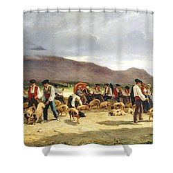 The Pig Market Shower Curtain by Pierre Edmond Alexandre Hedouin