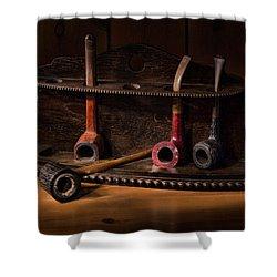 The Pipe Rack Shower Curtain by Ann Garrett