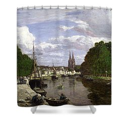 The Port At Quimper Shower Curtain by Eugene Louis Boudin
