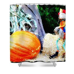 the Pumpkin and the Scarecrow Shower Curtain by Bill Cannon