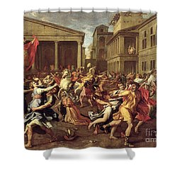 The Rape Of The Sabines Shower Curtain by Nicolas Poussin