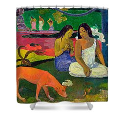 The Red Dog Shower Curtain by Paul Gauguin