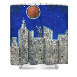 The Red Moon Shower Curtain by Graciela Bello