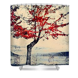 The Red Tree At Okanagan Lake Shower Curtain by Tara Turner