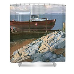 The Red Troller Revisited Shower Curtain by Gary Giacomelli
