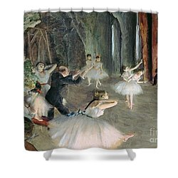 The Rehearsal Of The Ballet On Stage Shower Curtain by Edgar Degas
