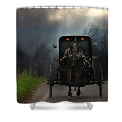 The Road Less Traveled Shower Curtain by Lori Deiter