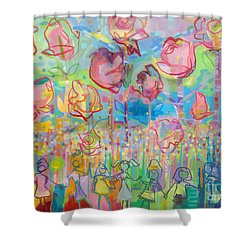 The Rose Garden, Love Wins Shower Curtain by Kimberly Santini