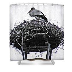 The Schierstein Stork Shower Curtain by Sarah Loft