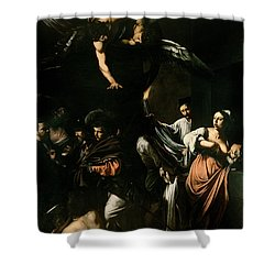 The Seven Works Of Mercy Shower Curtain by Caravaggio