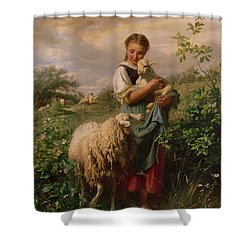 The Shepherdess Shower Curtain by Johann Baptist Hofner