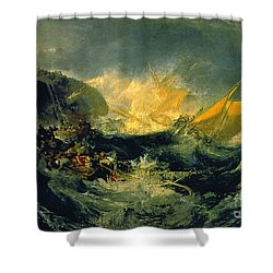 The Shipwreck Of The Minotaur Shower Curtain by JMW Turner