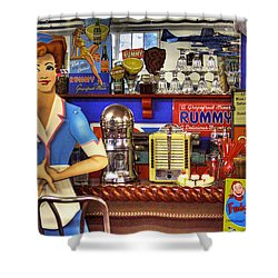 The Soda Fountain Shower Curtain by David Patterson