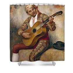The Spanish Guitarist Shower Curtain by Pierre Auguste Renoir