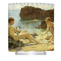 The Sun Bathers Shower Curtain by Henry Scott Tuke