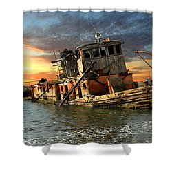 The Sunset Years Of The Mary D. Hume Shower Curtain by James Eddy