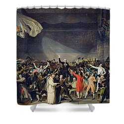 The Tennis Court Oath Shower Curtain by Jacques Louis David