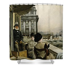The Terrace Of The Trafalgar Tavern Greenwich Shower Curtain by James Jacques Joseph Tissot