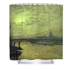 The Thames By Moonlight With Southwark Bridge Shower Curtain by John Atkinson Grimshaw