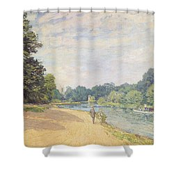 The Thames With Hampton Church Shower Curtain by Alfred Sisley