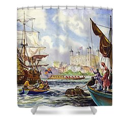 The Tower Of London In The Late 17th Century  Shower Curtain by English School