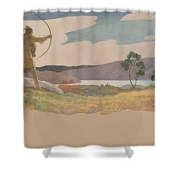 The Turkey Hunters Shower Curtain by Newell Convers Wyeth