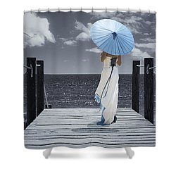 The Turquoise Parasol Shower Curtain by Amanda And Christopher Elwell