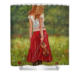 The Violinist Shower Curtain by David Stribbling