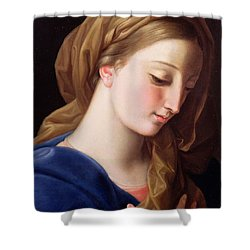 The Virgin Annunciate Shower Curtain by  Pompeo Girolamo Batoni